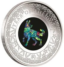 Australien 1 Dollar 2018 Jahr des Hundes Opal-Serie (3.) 1 Oz Silber PP