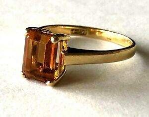 Lovely Simple 14KP .585 Yellow Gold Ladies Orange Citrine Band Ring Size 6.25