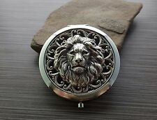Handmade Oxidized Silver Lion Compact Mirror