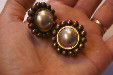 Metal vintage Clip on earrings flower blossom Neat tri tone hollow