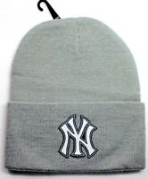 READ LISTING! New York Yankees HEAT Applied Flat Logo on Beanie Knit Cap hat