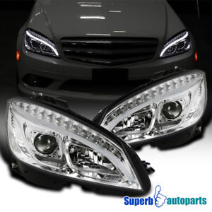 For 2008-2011 Benz W204 C-Class Projector Headlights W/ LED Signal Lamps