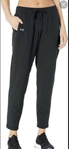 Under Armour Athletic Pants Small Black Zip Ankle Pockets Storm Layered Up Logo