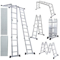 12.5FT Extension Multifunction Aluminum Folding Step Ladder Scaffold w/2 Plates