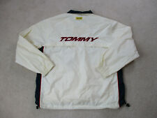 VINTAGE Tommy Hilfiger Jacket Adult 2XL XXL White Red Spell Out Windbreaker 90s*