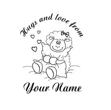 UNMOUNTED PERSONALIZED 'hugs & loves'  RUBBER STAMPS 1