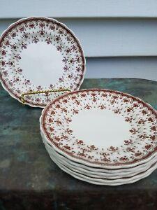 7 Vintage Copeland Spode Fluer De Lis Brown Appetizer Bread Plates