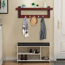 Entryway Wood Coat Rack Organizer Wall Mount Shelf Hat Bag Key Hanger w/5 Hooks