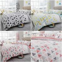 GEO TRIANGLE DUVET COVER SET BEDDING TEAL PINK GREY - SINGLE, DOUBLE & KING SIZE