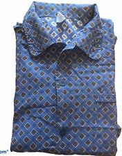 Men's Vintage 1970's/80's Pyjamas Cotton Geometric Print Size XL Blue E1