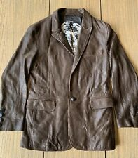 Royal Underground Men's Brown 100% Leather Snake Skin Pattern Jacket  Sz S
