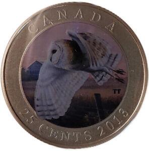 2013 25-Cent Royal Canadian Mint Colourized Bird Series - Barn Owl
