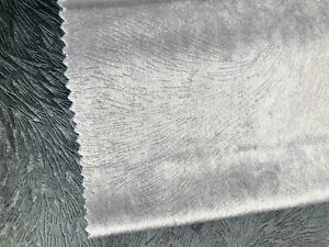 "Embossed Velvet Decor Fabric Upholstery Velour Material 59"" wide SILVER GREY"