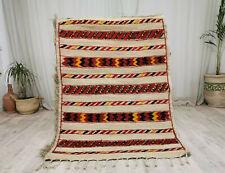 "Handmade Moroccan Straw Fiber Wool Mat 3'8""x5'2"" Striped Vintage Berber Hassira"