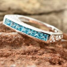 "AAA Paraibe Apatite ""Half Eternity"" 925 Sterling Silver Band Ring."