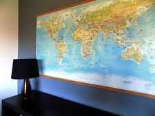 Large World Map - with Wooden Hanging Rails. (Not Ikea).