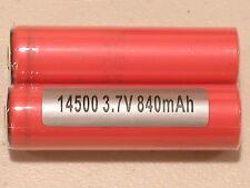 2 pc SANYO UR 14500 P Li-ion 840mAh Rechargeable Battery 3.7v BUTTON-TOPS w/case