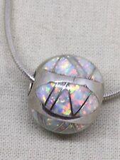 Vintage Sterling Silver Opal Orb Pendant Necklace 7.8 Grams. Fri1-28