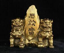 China Fengshui Bronze Brass Foo Fu Dog Lion Leo Pair Shigandang exorcism Statue