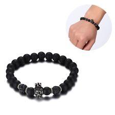 Men Bracelet Smooth Alloy Crown Lion Head Lava Stone Beaded Bangle Black