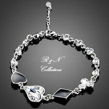 Platinum Plated Heart Shaped Made With Swarovski Austrian Crystal Bracelet B628