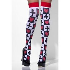 Poker Pattern Opaque Hold Ups Stockings Alice Queen Of Hearts Casino Smiffys