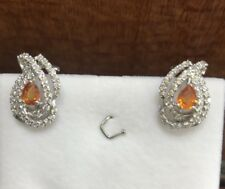 14kSolid Gold Omega Clip Earrings Natural Multi Color Sapphire With White Stone