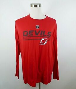 NHL New Jersey Devils Mens Cotton LS Crew Neck Red T Shirt by Fanatics Size XL