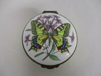 VINTAGE MADE IN ENGLAND BY CRUMMLES ENAMEL TRINKET BOX with MONARCH BUTTERFLY