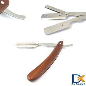 Professional Straight Cut Thraot Barber Shaving Razor Wood Plastic Handle New