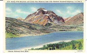 POSTCARD MONTANA GLACIER NATIONAL PARK RISING WOLF MOUNTAIN & TWO MEDICINE LAKE