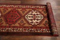 """Vintage Geometric Tribal Runner Rug Oriental Hand-made Wool Carpet 11' 0 x 3' 5"""""""