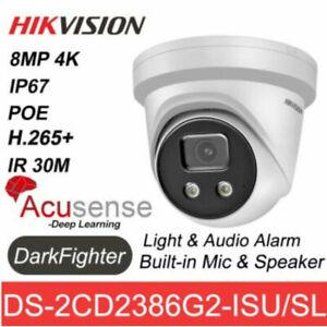 Hikvision 4K 8MP AcuSense DarkFighter DS-2CD2386G2-ISU/SL Camera PoE Mic Speaker