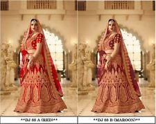 2 Set Of RED MAROON Lehenga Choli Lengha Designer Wedding Wear Indian Pakistani