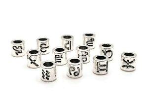 12 or 60 Pcs Antique Silver Zodiac Charm Beads European Beads-US Seller- AS244