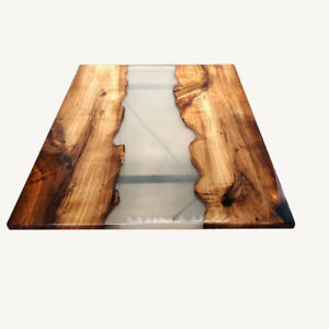 Custom Order Walnut Clear Transparent Brown Epoxy, Live Edge Dining Table Decors
