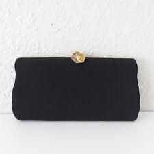 Vintage Black Crêpe Evening Frame Bag Purse w/ Rhinstone Flower