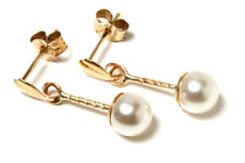 9ct Gold 5mm Pearl ball drop Earrings Gift Boxed Made in UK Xmas Christmas Gift