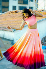 Women's Bollywood Replica Double Shaded Pink Raw Silk Lehenga
