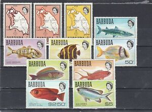 set of 11 mint QEII fish stamps from Barbuda. 1969. CV £12