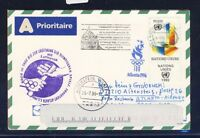 49029) LH Olympiade SF Frankfurt - Atlanta USA 5.5.96, Karte UNO Genf TAB