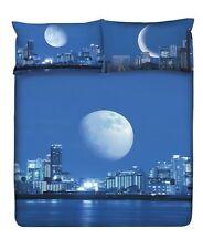 Set Lenzuola/Copriletto Matrimoniale Planet Moonlight Luna Azzurro-Blu Gabel