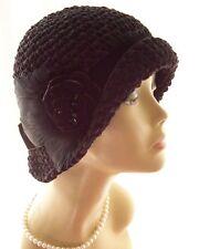 Black Handmade Cloche Flapper Hat Velvet Rose Feathers Brown Teal