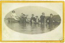Real Photo Postcard RPPC Bathers Swimmers & Row Boat