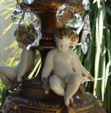 Cherub Chandelier lamp vintage SWAG Shabby Spelter Brass French appartment chic