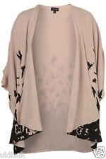 Topshop Nude Black Bird Print Kimono Waterfall Jacket Size 8