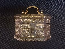 Vintage Unique Beaten Hand imprinted Brass Octagon Jewelry Box or small Chest WJ
