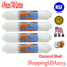 """4 Omnipure T40 Post Coconut Inline Carbon Filter 10X2"""" RO T33 Upgrade water"""