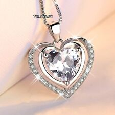Sparkling Crystal Heart & 925 Silver Necklace Presents for Women Girls Ladies Z3