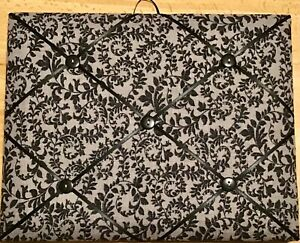 French Bulletin Board Photo Memo Gray & Black Floral Vine Print 8 x 10 inches